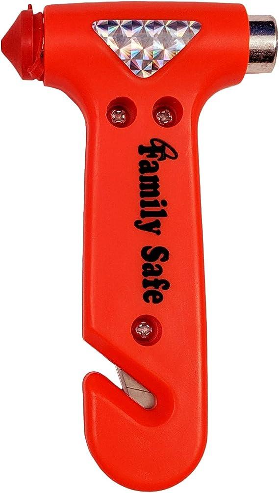 Family Safe Bright Orange Seatbelt Cutter Window Breaker Emergency Escape Multi Tool - 1 Pack
