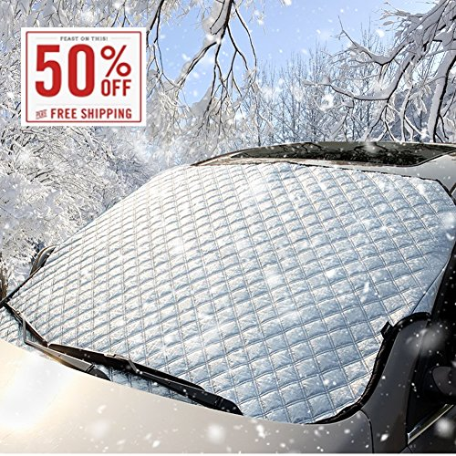 Windshield Snow Cover, Thickened Windshield Cover for Ice and Snow - Sun, Frost Guard Wind Proof Car Cover All Weather Protector, for Snow Wiper and Ice Removal, Fit for Most - Remove From Glasses How Sun To Scratches