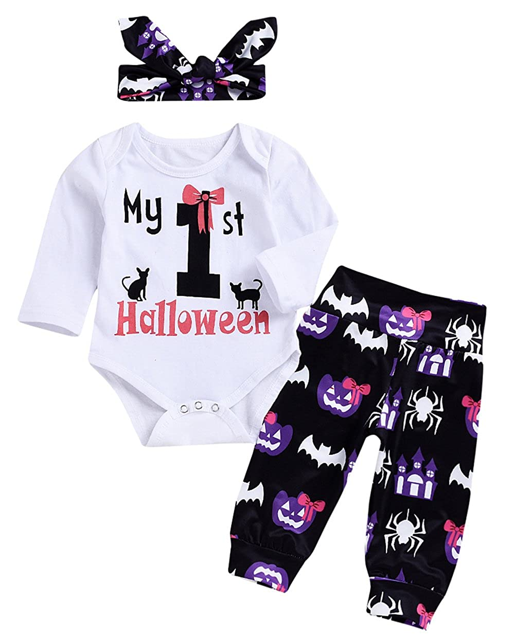 Baby Halloween Outfits My 1st Halloween Long Sleeve Romper +Pumpkin Pants Hat Headband Halloween Clothing Set