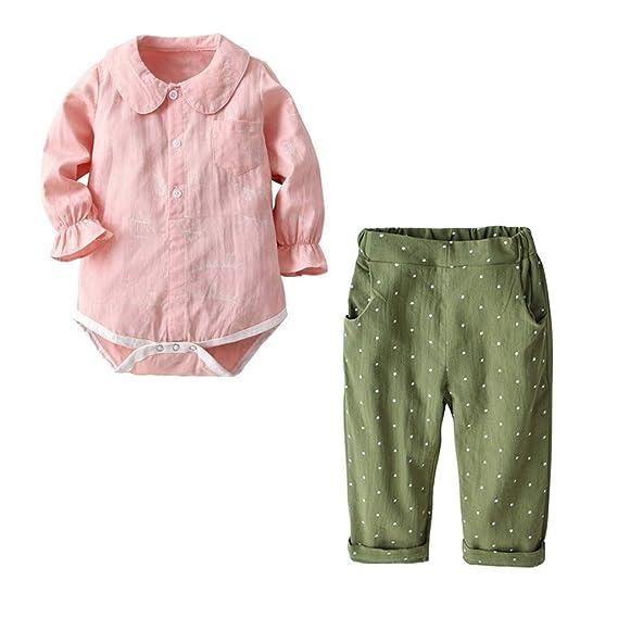 Mitlfuny Rosa Peleles Mono Invierno Otoño Recien Nacido Color Sólido Collar de Muñeca Camisa Algodón Mameluco
