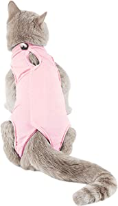 TORJOY Kitten Onesies,Cat Recovery Suit for Abdominal Wounds or Skin Diseases,After Surgery Wear Anti Licking Wounds,Breathable E-Collar Alternative for Cats and Dogs Pink M