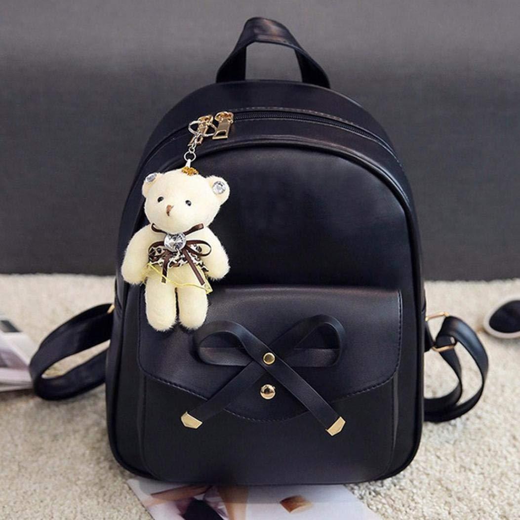 52b72ee149 Javpoo Women Girls Cute Bowknot PU Leather School Backpack + Crossbody  Chain Shoulder Bag + Clutch Purse + Card Holder 4 Piece Set Bag with  Cartoon Pendant  ...