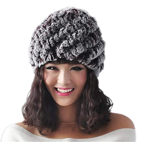 5b50478c865cd 100% Real Natural Rex Rabbit Fur Cap Winter Knitted Real Rex Rabbit Fur Hat  Fur