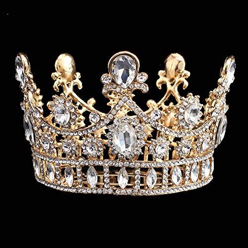 Stuffwholesale Wedding Bridal Gold Crown Crystal Teardrop Small Tiara Headwear