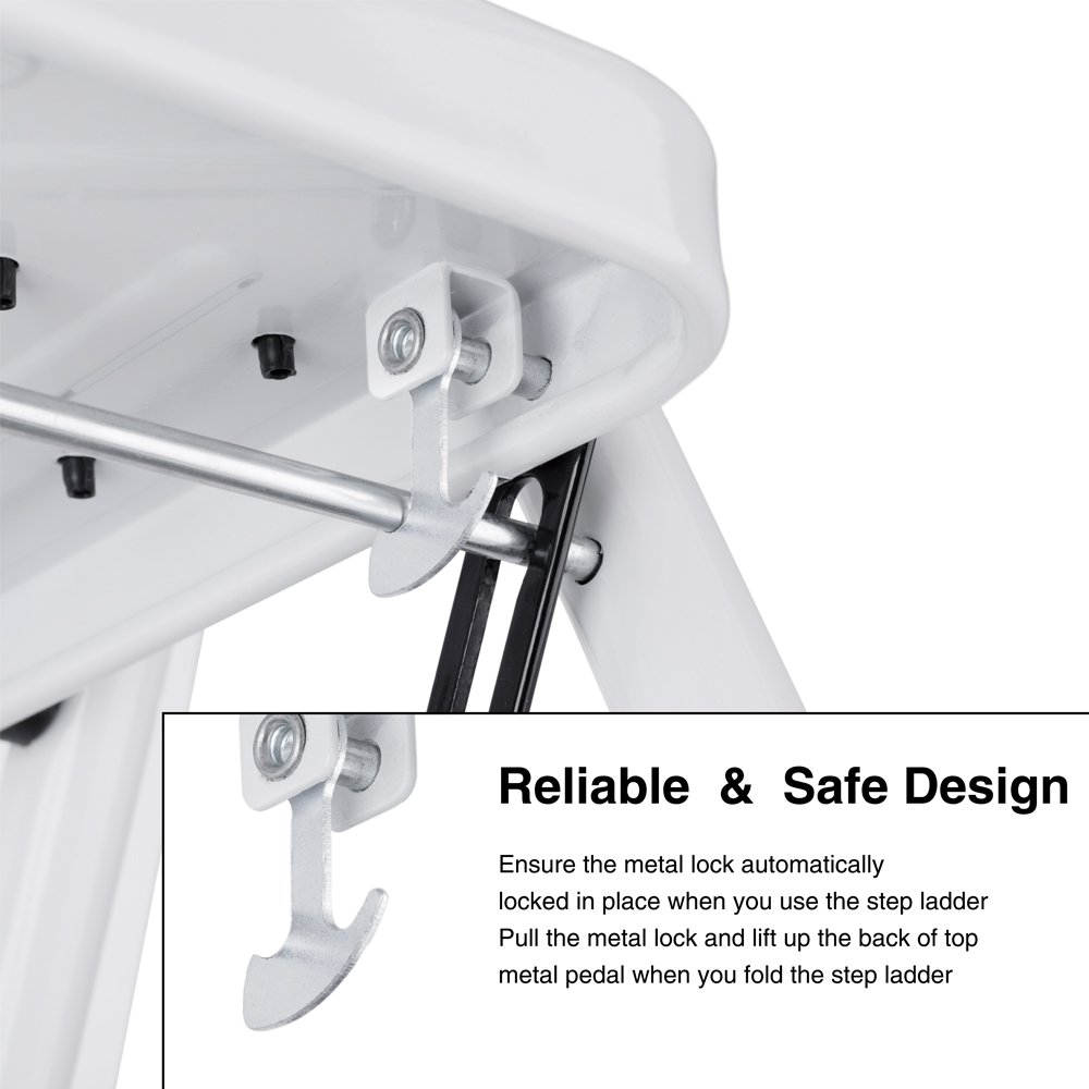 Delxo Folding 4 Step Ladder Ladder With Convenient Handgrip Anti-Slip Sturdy and Wide Pedal 330lbs Portable Steel Step Stool White and Black 4-Feet (WK2040-3) by Delxo (Image #7)