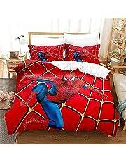 Spider Man Dekbedovertrek 200x200 cm 3-delig beddengoed polyester microvezel inclusief 1 dekbedovertrek met ritssluiting + 2 kussenslopen 50 x 75 cm