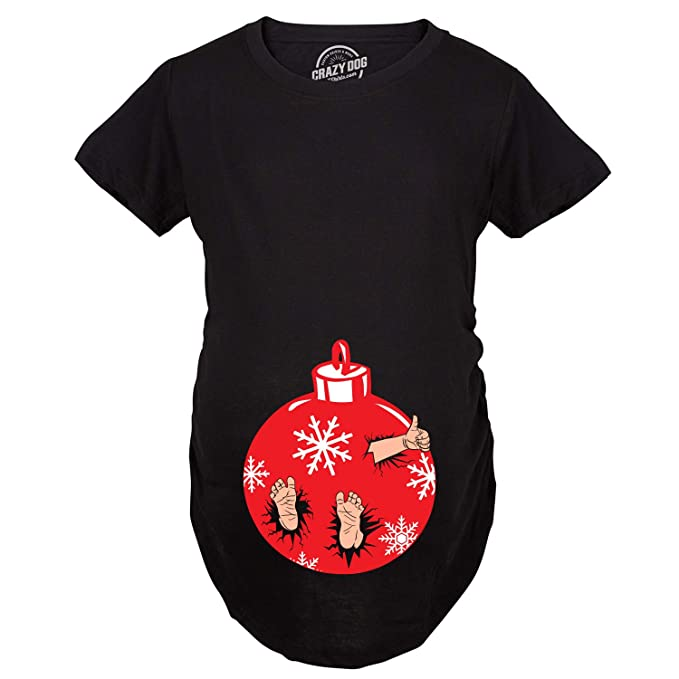 4002d01b6 Maternity Christmas Ornament Baby Pregnancy Tshirt Cute Xmas Holiday Tee  for Mom to Be -S