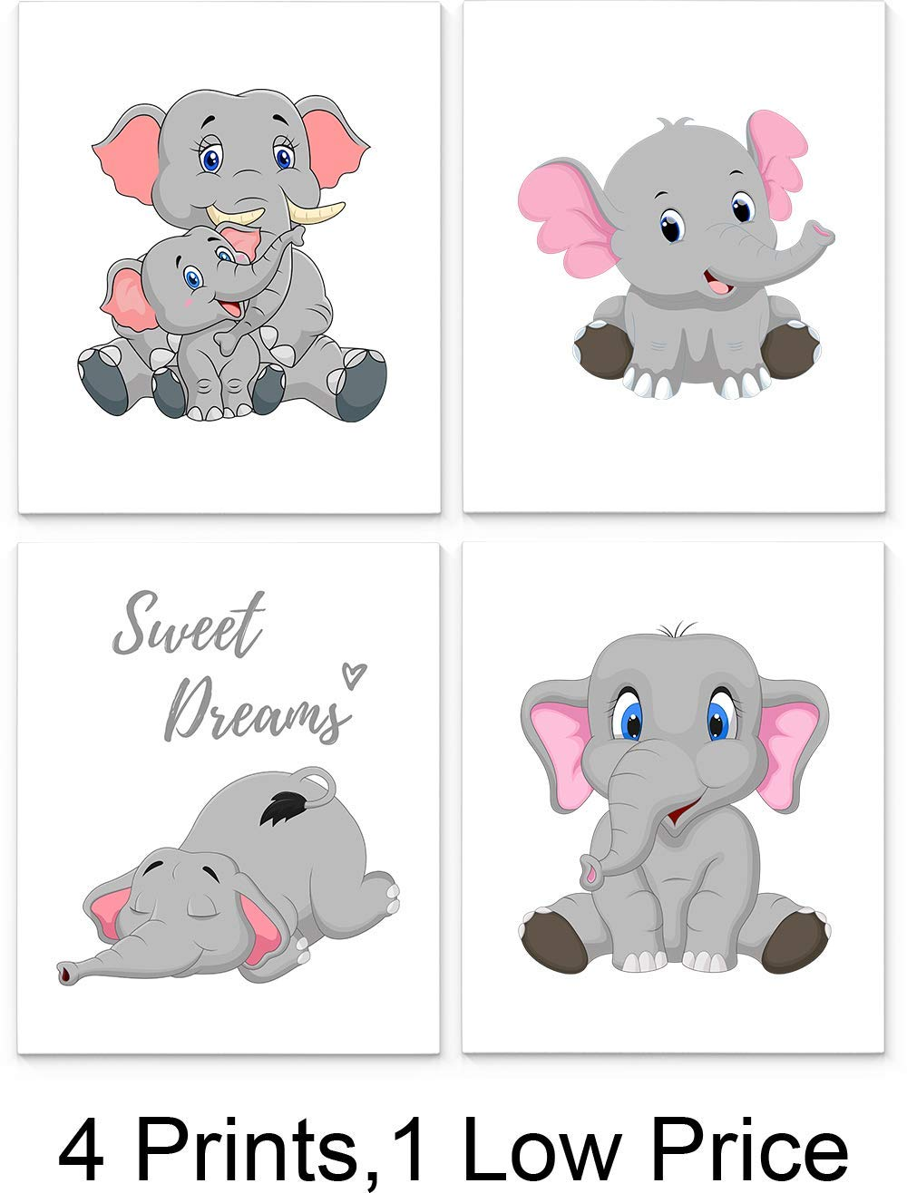 Elephant Nursery Decor Set of Four 27 x27 inch Unframed Art Prints - Great  for Baby Room Wall Decor