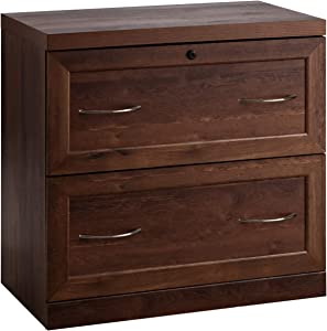 Giantex Lateral File Cabinet 2 Drawer W/Lock,Free Standing and Metal Heavy Duty Storage Cabinet for Decorations, Books and Photos Organizer Home & Office and Library Filing Cabinet (Coffee)