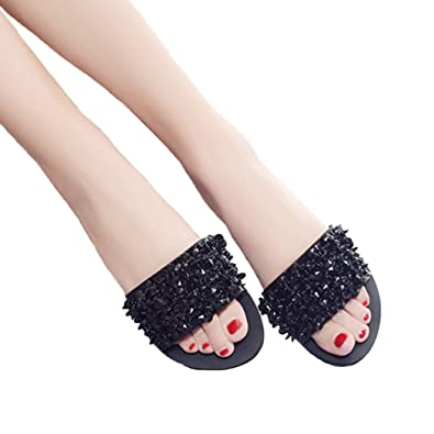 Tsingbei Damen Sommer Flach Hausschuhe Pantoletten mit Pailletten Bequem Platform Sandalen