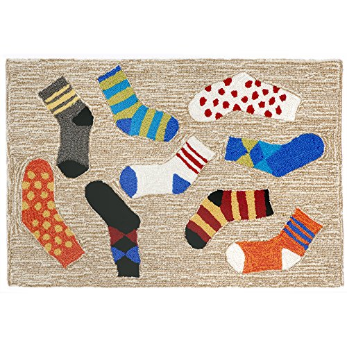Liora Manne Front Porch Home Sock Play Lost Socks Indoor/Outdoor Rug 2'6