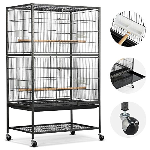 Yaheetech 52' Rolling Extra Large Bird Cage for African Grey Parrots Cockatiels Sun Conures Parakeets Pigeons Doves Flight Bird Cage with Stand
