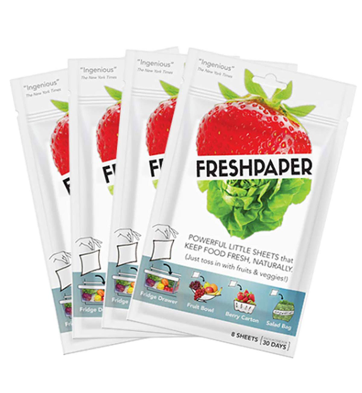 FRESHPAPER Food Saver Sheets for Produce (8-sheet package) - 4 Pack