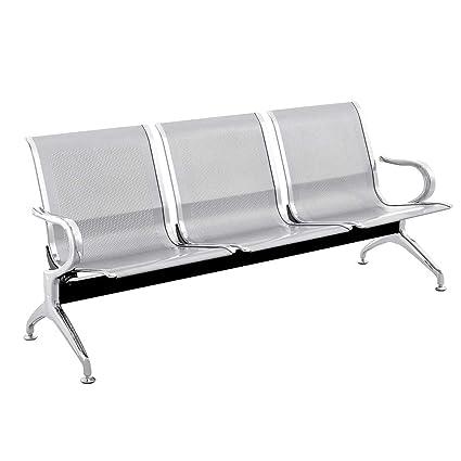 PrimeMatik - Bancada para sala de espera con sillas ergonómicas plateadas de 3 plazas