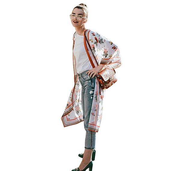 DEELIN Mujeres Floral Bohemia ChifóN Kimono Cardigans Blusa Cubierta Ups (S, Naranja)