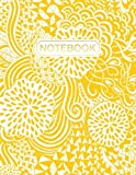 Notebook: Gold Lettering: Yellow Abstract Floral Swirls: Large Format Notebook & Journal