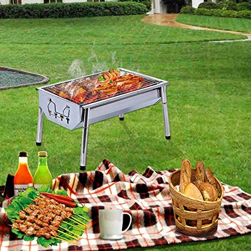 61LWqLrda9L. AC  - ISUMER Charcoal Grill Barbecue Portable BBQ - Stainless Steel Folding BBQ Kabab Grill Camping Grill Tabletop Grill Hibachi Grill for Shish Kabob Portable Camping Cooking Small Grill