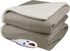 Biddeford Velour Sherpa Electric Heated Warming Throw Blanket Taupe Washable Auto Shut Off 6 Heat Settings