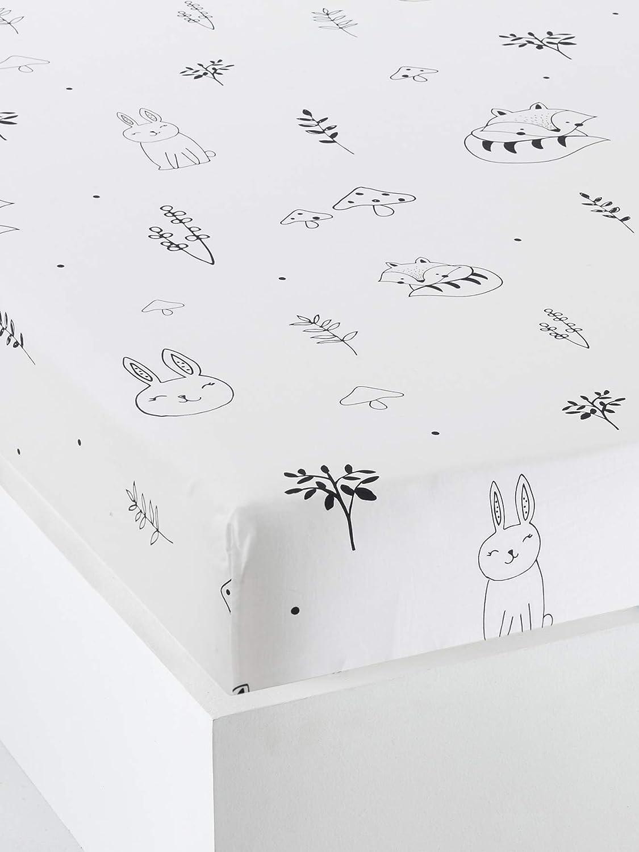 Vertbaudet Drap Housse b/éb/é Foret Magique Blanc//Noir 60x120