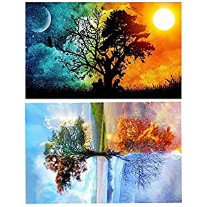 2 Pack DIY 5D Diamond Painting Kits Full Drill Diamond Paint by Number for Adults Kids,Diamond Rhinestone Crystal Painting Kit Art Craft for Home Wall Décor