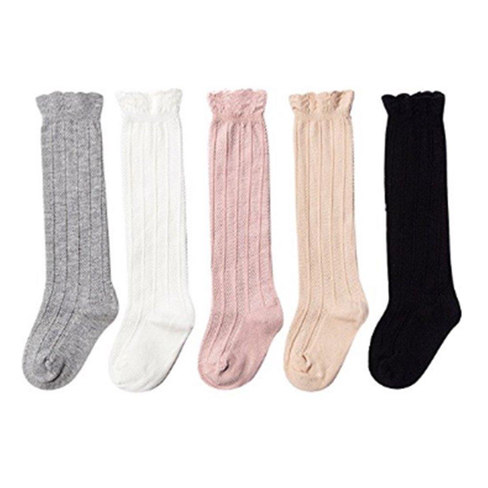 WENDYWU Baby Socks Uniform Knee High Socks Tube Ruffled Baby Girl Boy Stockings