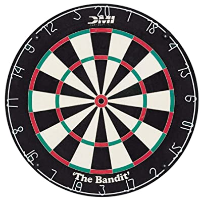 DMI Sports Bandit Staple-Free Bristle Dartboard with Reduced Bounce-Outs, Steel Segment Dividers Embedded in Bristle for Strength and Durability – The Official World Cup Dartboard Since 1999: Sports & Outdoors