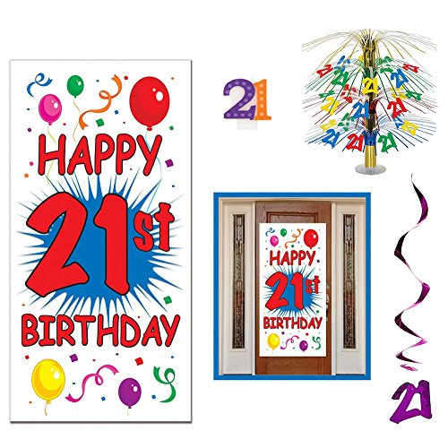 21st Birthday Celebration Party Decoration Supplies Pack Including Cascade Centerpiece, Door Cover, Hanging Whirls, and Molded Candle