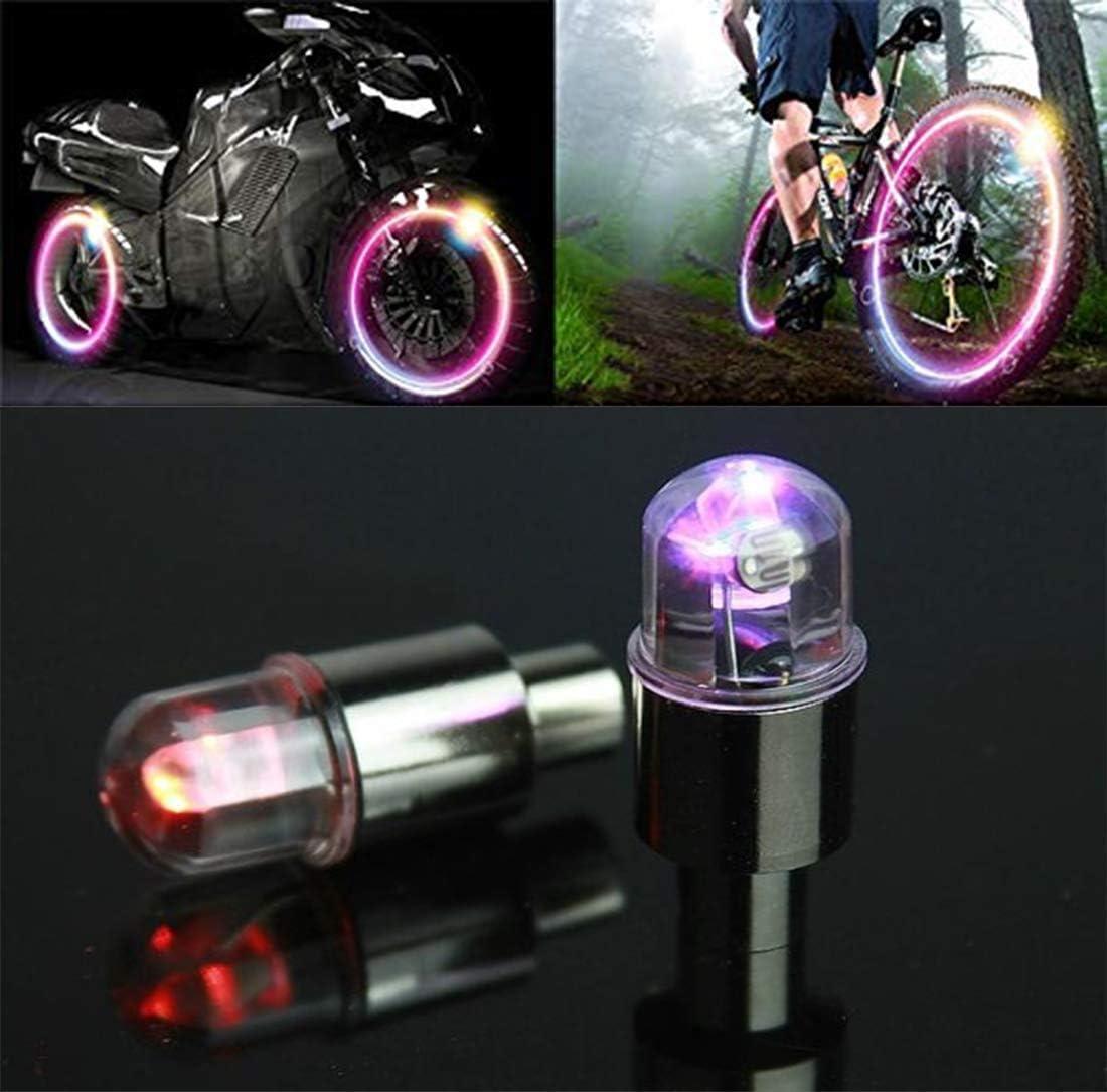 ROSETOR 8 Pcs LED Wheel Lights Car Bike Wheel Tire Tyre Valve Dust Cap Light Safety Waterproof Motion Activated Spoke Flash Lights 4 color