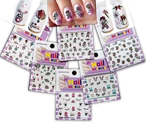 Cheek Bunny - Festive & Fun 3D Nail Stickers Decals /LD1/- Rooster, Easter Egg, Bunny, Baby Cheek, etc. - Pack of 6 by La Demoiselle