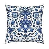Roostery Turkish Islamic Persian Victorian Damask Indian Indigo Velvet Throw Pillow Cover Bisāṭ 694J by Muhlenkott Cover w Optional Insert