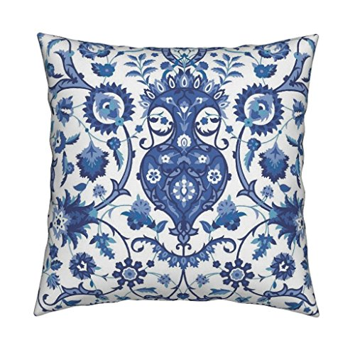Roostery Turkish Islamic Persian Victorian Damask Indian Indigo Velvet Throw Pillow Cover Bisāṭ 694J by Muhlenkott Cover w Optional Insert by Roostery