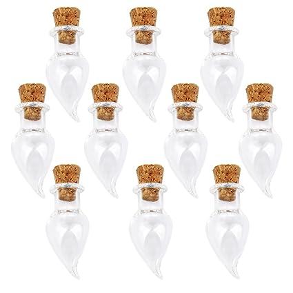 Mini Corcho Cristal Botella De Chile Pimiento Frascos Viales Desean Botella Nota Del Amor 10pc