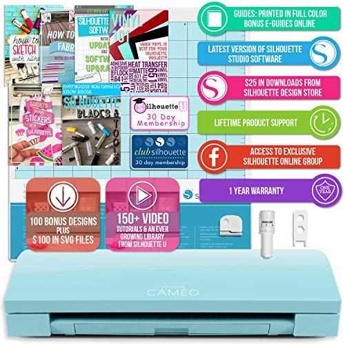(Silhouette America Cameo 3 Light Blue Edition with with Bluetooth, Auto Adjusting Blade, Vinyl Trimmer, 12x12 Mat, 110v-220v Power Cord Warranty,)