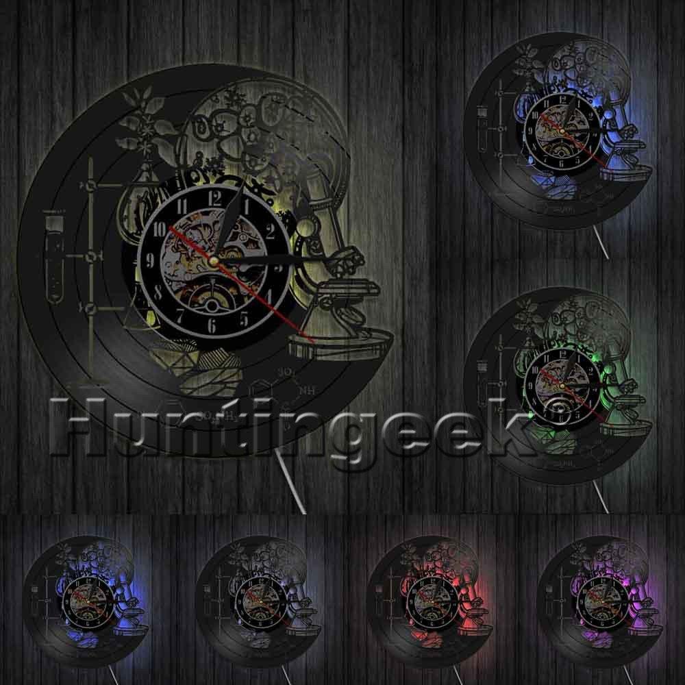 Biology Chemistry Science Circle Vinyl Wall Clock Oxygen Molecule Chemical Formula Kid Room Nursery Decorative Art Clock (With LED)