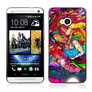 YOYOSHOP [Cool Mermaids Kissing Colors] HTC One M7 Case