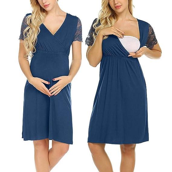 ALIKEEY Camisón De Encaje del Vestido De Mujer Embarazada Embarazo Lactancia Empalme Vestido De Maternidad Triangular Libros Embarazo Libros: Amazon.es: ...