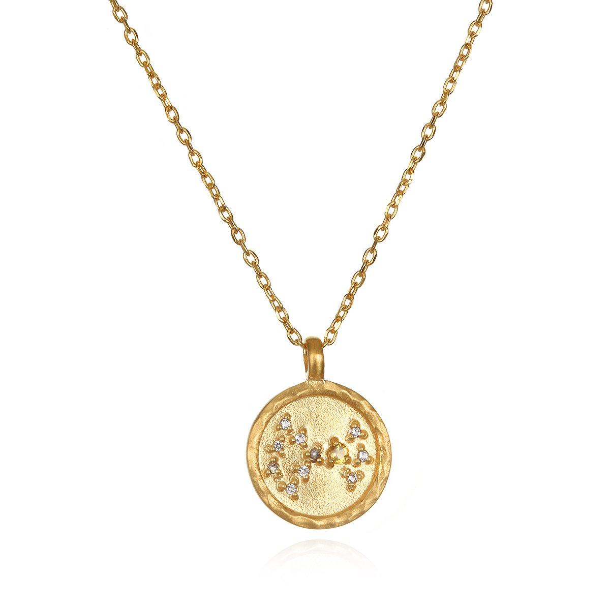 Satya Jewelry Scorpio Constellation Citrine White Topaz Zodiac Necklace (18-inch)