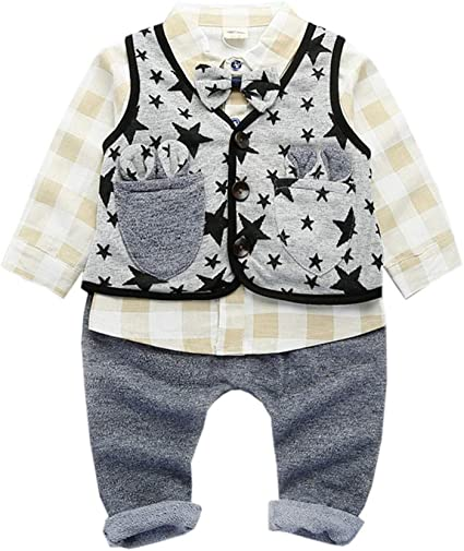LIAOMNKJ Toddler Boy Gentleman Outfit 3 unids Camisa a ...