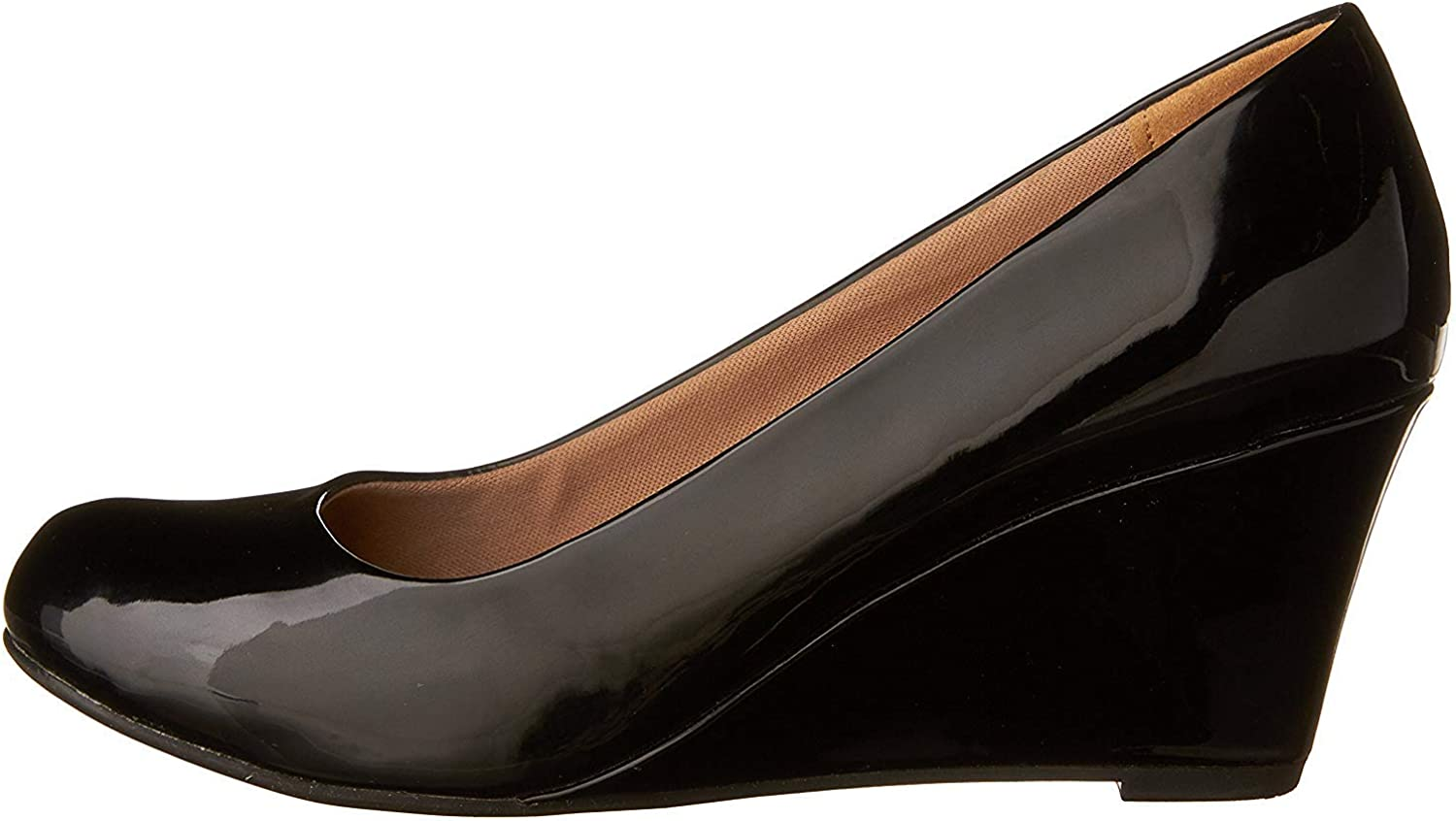 Forever Link Womens DORIS-23 Faux Leather Mid Heel Round Toe Wedge Pumps