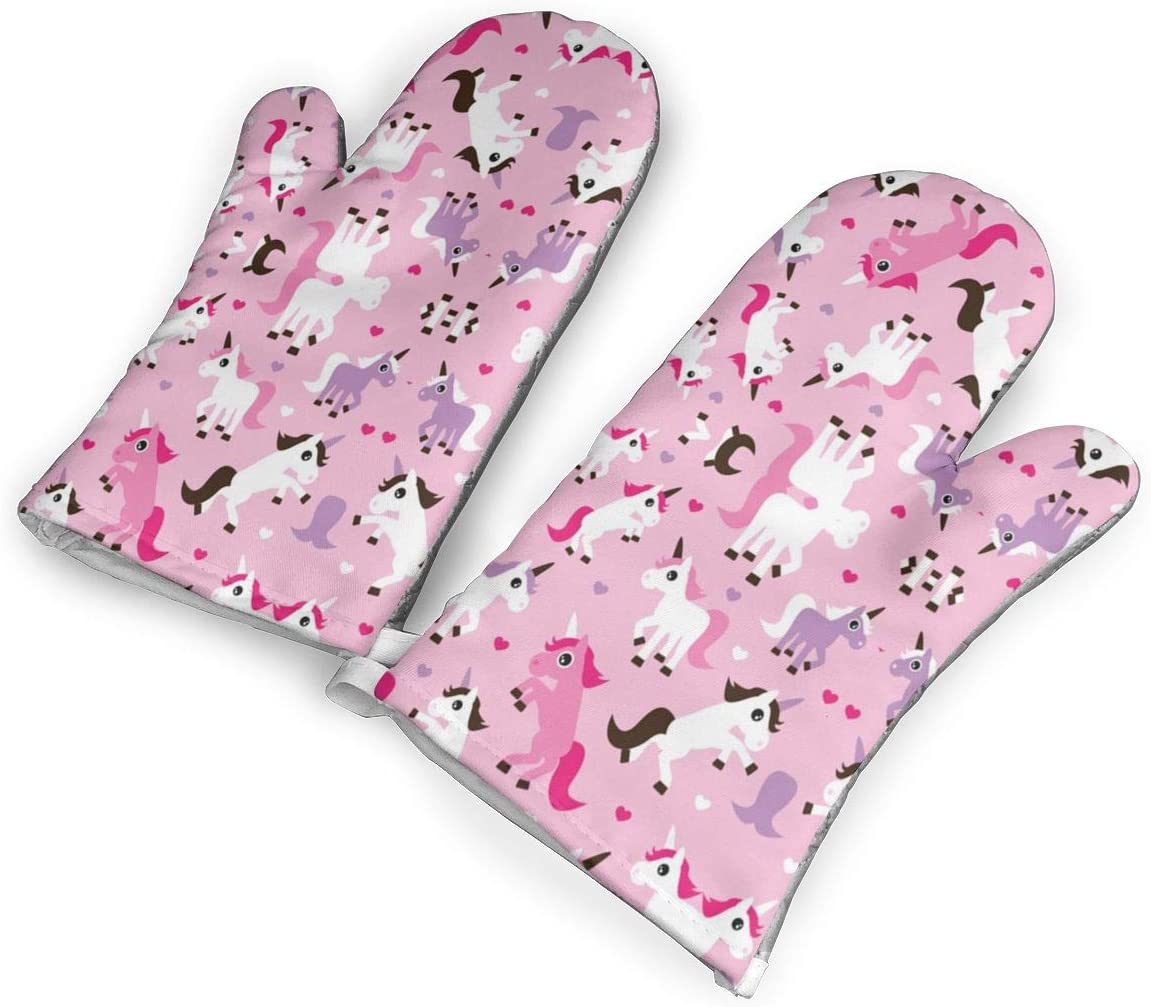 Pink Unicorn Horse Love Pink Girls Kitchen Oven Mitts, Cotton Long Microwave Oven Gloves, Extreme Heat Resistant 572 Degrees Nonslip Gloves for Potholders Cooking, BBQ, Frying, Baking (1 Pair)
