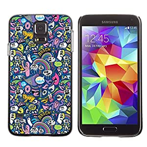 Qstar Arte & diseño plástico duro Fundas Cover Cubre Hard Case Cover para SAMSUNG Galaxy S5 V / i9600 / SM-G900F / SM-G900M / SM-G900A / SM-G900T / SM-G900W8 ( Cats Ghost Monster Wallpaper Colorful Design)