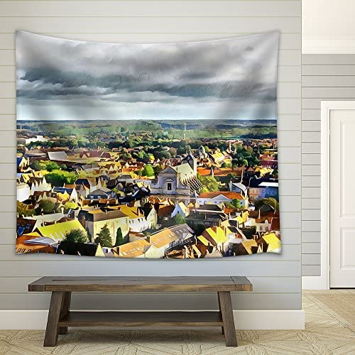 wall26 – Medieval Town Aerial Landscape in Bruges Illustration – Fabric Wall Tapestry Home Decor – 51×60 inches