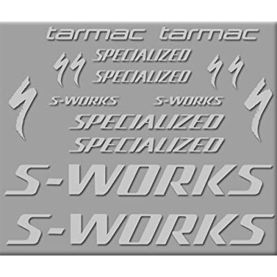 Ecoshirt DS-ER3X-RNRW Stickers S-Works Tarmac Bike R272 Stickers Aufkleber Decals Autocollants Adesivo, Silver: Automotive