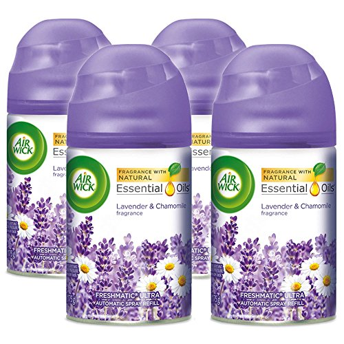 (Air Wick Pure Freshmatic 4 Refills Automatic Spray, Lavender & Chamomile, 4ct, Air Freshener, Essential Oil, Odor Neutralization, Packaging May Vary)