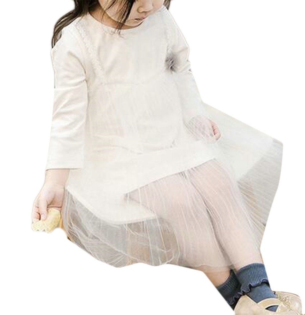 Cruiize Girls Cute Long Sleeve Princess Wedding Soft Mesh Splice Mini Dress White 4