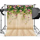 Mehofoto 5x7ft Wooden Floor Photography Background Pink and Yellow Floral Photo Backdrops for Photo Studio Props Custom Washable Backdrop for Photographers
