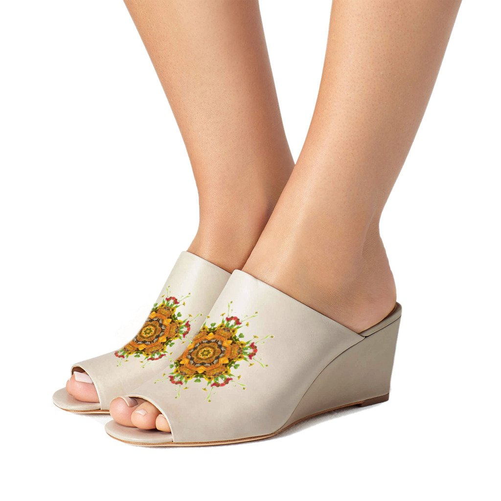FSJ Women Sexy Peep Toe Mule Style Wedge Sandals Slip On Shoes for Casual Size 4-15 US B074NY9QCN 9.5 B(M) US|Taupe-yellow Flower
