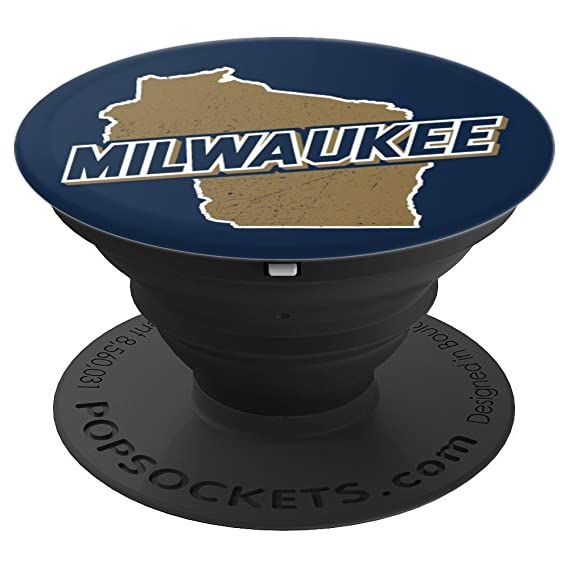 Milwaukee State Map.Amazon Com Milwaukee Wisconsin Wi State Map Pop Socket