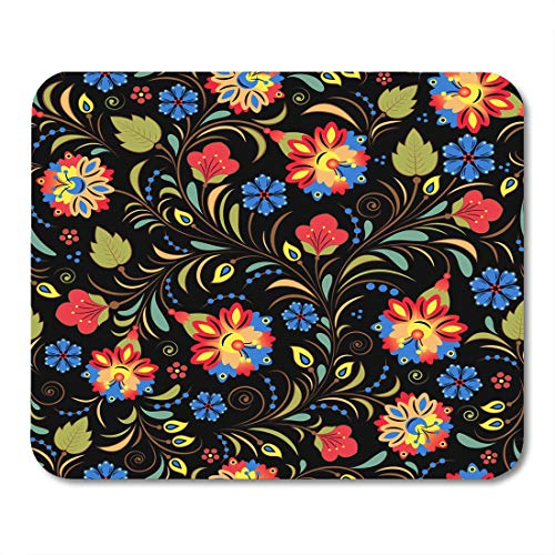 Nakamela Mouse Pads Brown Abstract Black Ethnic of with Traditional Russian Floral Khokhloma Blue Retro Colorful Berry Mouse mats 9.5