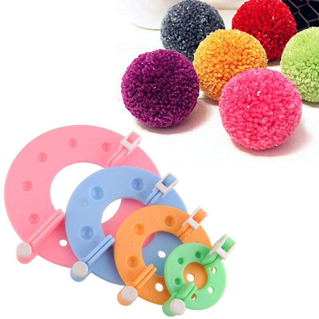 Pom-pom Maker, 4 Different Sizes Pompom Maker Fluff Ball Weaver Needle Craft DIY Wool Knitting Craft Knitting Wool Tool Kit Premium Quality